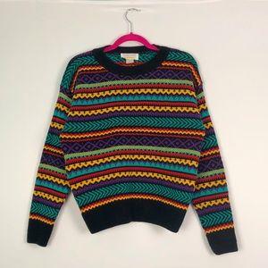 VTG 80's Knit Sweater Black Teal & Purple M
